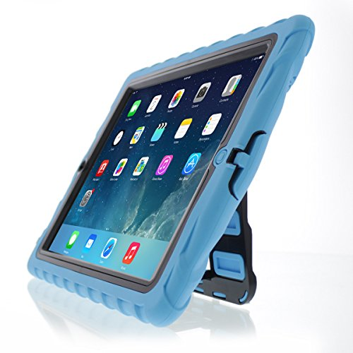 - Apple iPad Air Hideaway with Stand Blue Gumdrop Cases Silicone Rugged Shock Absorbing Protective Dual Layer Cover Case