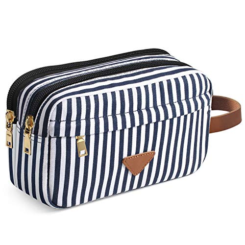 Women & Men Travel Toiletry Organizer Bag Canvas Shaving Dopp Kit (Stripe)