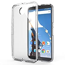 Google Nexus 6 Clear Case - MoKo Halo Series Back Cover with TPU Anti Drop & Scratch Technology Corners + Clear Back Panel Bumper case for nexus 6 by Motorola SmartPhone 2014, Crystal CLEAR