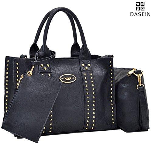 Dasein Designer Studded Pack 3 Medium Tote Bag Satchel Handbag with Detachable Organizer Pouch and Matching - Find Designer Warehouse