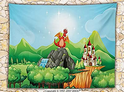 Cartoon Decor Fleece Throw Blanket Fantasy Dragon on Waterfall Cave by Castle Fiction Fairy Kids Myth Illustration Throw Multi
