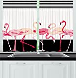 Cheap Retro Decor Kitchen Curtains by Ambesonne, Pink Flamingo Birds Background with Stripes Love Romance Icons Shabby Chic Graphic, Window Drapes 2 Panels Set for Kitchen Cafe, 55W X 39L Inches, Black