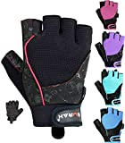 EMRAH Gym Weight Lifting Gloves Women Workout Fitness Ladies Bodybuilding Crossfit Breathable Powerlifting Wrist Support Strength Training Exercise (Black, S (Fits 6.29 - 6.88 Inches))