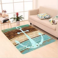 Nalahome Custom carpet e Maritime Sea Ocean Coastal Antiqued Aged Decor Digital Print Fashion Art Work Teal Khaki Brown area rugs for Living Dining Room Bedroom Hallway Office Carpet (24x21)
