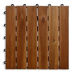 casa pura Interlocking Acacia Wooden, Garden and Patio Decking Tiles, Arden (Pack of 11) 12 x 12 inches