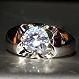 Sumanee Fashion New 925 Silver Filled White Sapphire Birthstone Engagement Wedding Ring (9)
