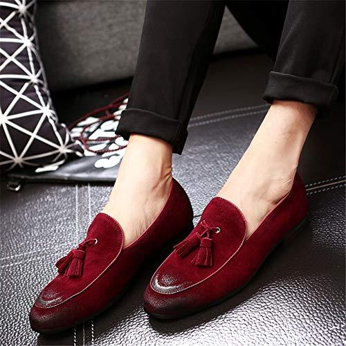 Durables Zapatos Hombres Antideslizantes Cuero Qiusa Rojo Blanda Eu Para Slip En Tamaño Rojo Suela 47 color Genuino De gndPf