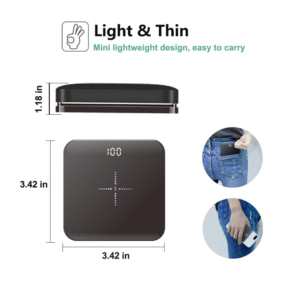 AILRINNI Portable Wireless Charger, 20000 mAh Wireless Power Bank with Digital Display, External Battery Qi Fast Charging for iPhone X/XS/XR/8 Plus/, Samsung S10/S9/S8/7/6 and more-Black