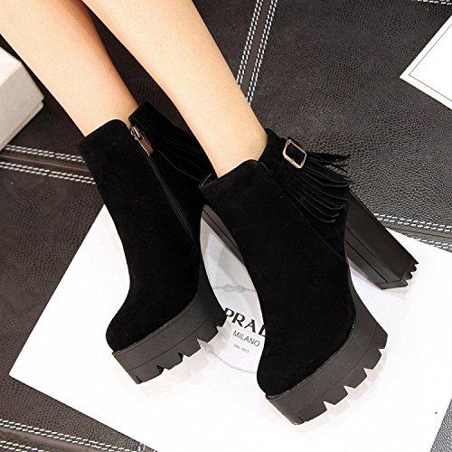 ZQ@QX Herbst und Winter runden eleganten Kopf dick mit eleganten runden und su Stiefel Seite Reißverschluss und vielseitige großen, nackten Stiefel, Stiefel  schwarz 26ba61