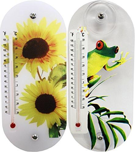 Set of 2 Tree Frog & Sunflower Indoor & Outdoor Kerosene Thermometers! 20cm X 8.7cm - Sunflowers - Tree Frog - Suction Cup Thermometers Perfect for Indoor or Outdoor Use! (2, Sunflower & Tree Frog)