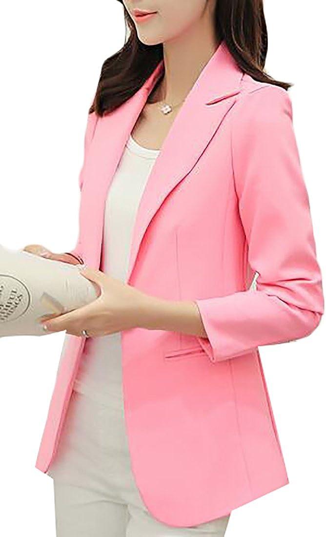 Jaycargogo Womens Long Sleeve One Button Slim Casual Suit Jacket Blazer Coat Pink S