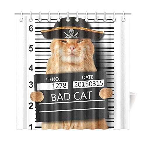 InterestPrint Cool Pirate Cat Home Decor, Hipster Funny Animal Cats Waterproof Polyester Fabric Shower Curtain 72 X 72 Inches