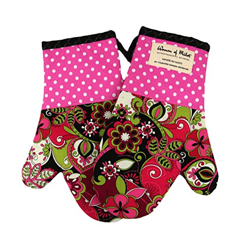 Claudine Oven Mitt Set of 2 - Pink, Black, White, Green Tones with Floral and Polka Dot Patterns - Hand Made Fair Trade from ()