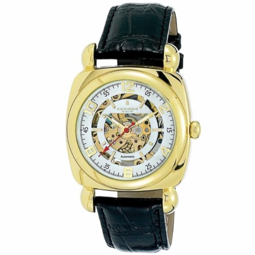 Akribos XXIV Men's AKR479YG Bravura Skeleton Automatic Square Watch