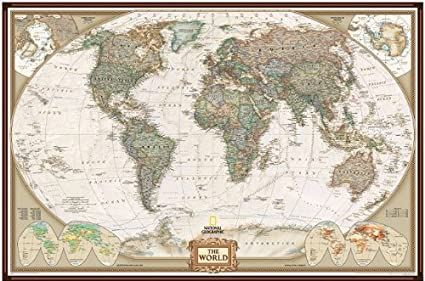 National Geographic World Political Map.National Geographic Pinboard World Political Map Executive Style