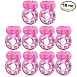 Sexy Slave [10-Pack] Butterfly Vibrating Cock Ring - Stretchy Penis Ring - Clitorial Stimulation for Women - Adult Sex Toys for Couples, Pink or Purple