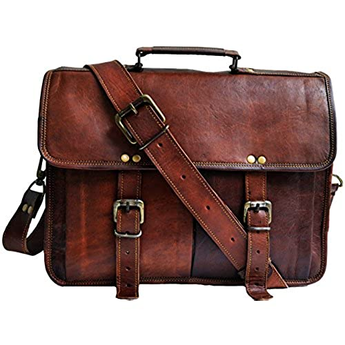 14 Inch Mens Genuine Leather Messenger College Macbook Air Pro Laptop Ipad Tablet Briefcase Satchel