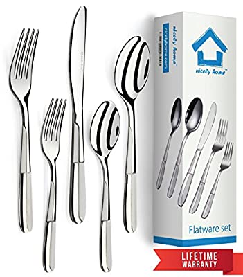 Flatware Set 20 Piece for 4 - Polished Forks Spoons & Knives - Modern Flatware Set to Match All Dinnerware - Flatware 18\10 Stainless Steel Restaurant Quality Cutlery - Dining Kit in a Gift Box