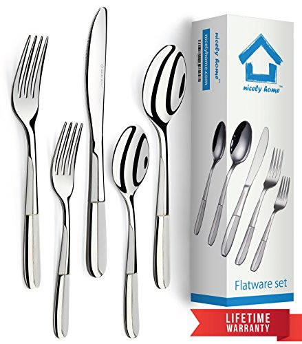 Flatware Set 20 Piece for 4 - Polished Forks Spoons & Knives (10 Piece Knife Set)