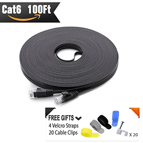 Cat 6 Ethernet Cable Black 100ft (At a Cat5e Price but Higher Bandwidth) Flat Internet Network Cable - Cat6 Ethernet Patch Cable Short - Cat6 Computer Cable With Snagless RJ45 (100 Cat5 Patch Cables)