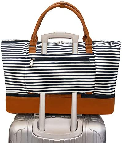 Weekender Bag Carry on Overnight Duffel for Women, Carrying Weedkend Travel Bags for Ladies, Large Canvas& PU Leather with Shoe Compartment Duffle (Black White Strips)