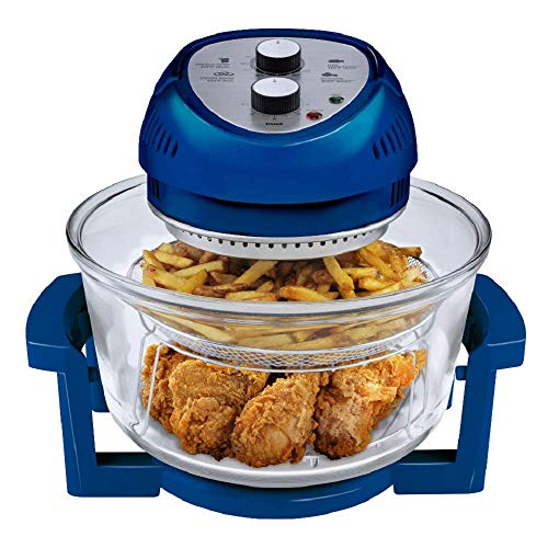Big Boss Oil-less Air Fryer, 16 Quart, 1300W, Easy Operation with Built in Timer, Dishwasher Safe, Includes 50+ Recipe Book – Blue