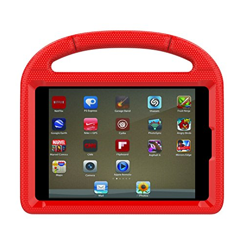 Apple iPad Mini 4 Case, iPad Mini 4 Covers for Kids - Lmaytech Light Weight Portable Shockproof Super Protection Handle Stand Cover for iPad Mini 4 (Mini-4, Red)