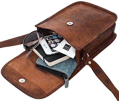 """Gusti Leder nature """"Garan"""" borsetta di pelle a tracolla spalla per tablet 7,9'' da sera tempo libero vintage donn piccola marrone K66b"""