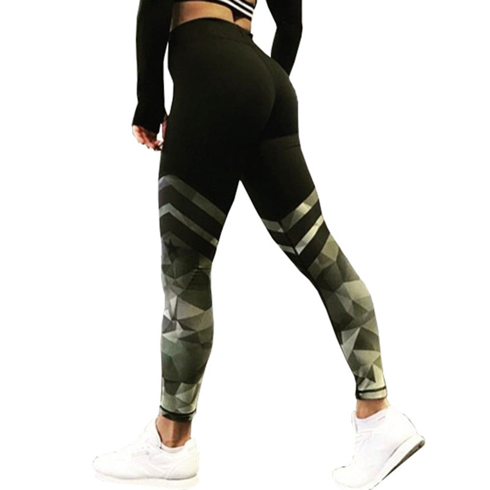 3c7f02d076368 Yoga Leggings for Women Ladies - Fashion Camouflage Printing Skinny  Slimming Trousers Hip Push up Stretchy Pants Sport Fitness Casual Pants  Bottoms Black S- ...