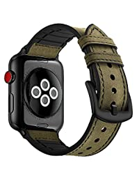 Mifa Hybrid Sports band Military Green Compatible With Apple Watch vintage Leather Bands Replacement straps Sweatproof classic dress iwatch series 1 2 3 4 nike space black grey gray men women HB (42mm - Green)