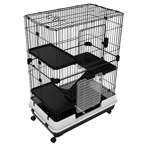 "PawHut 43"" H Metal 4-Level Rabbit Cage Indoor Small Animal Hutch"