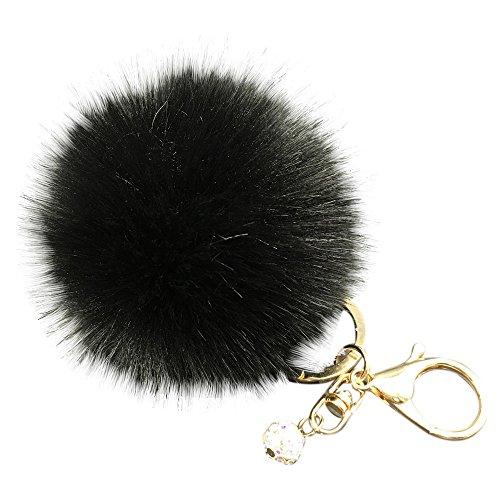 Chains Faux (BCDshop Cute Cute Faux Fur Ball Cell Phone Car Keychain Pendant Handbag Charm Key Ring Xmas Gift (Black 1, Alloy))