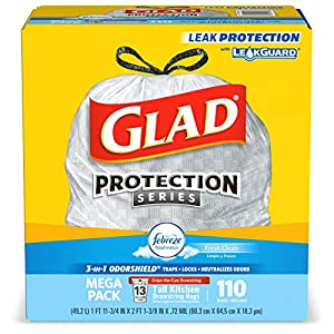 Glad Tall Kitchen Drawstring Trash Bags – OdorShield 13 Gallon White Trash Bag, Febreze Fresh Clean – 110 Count