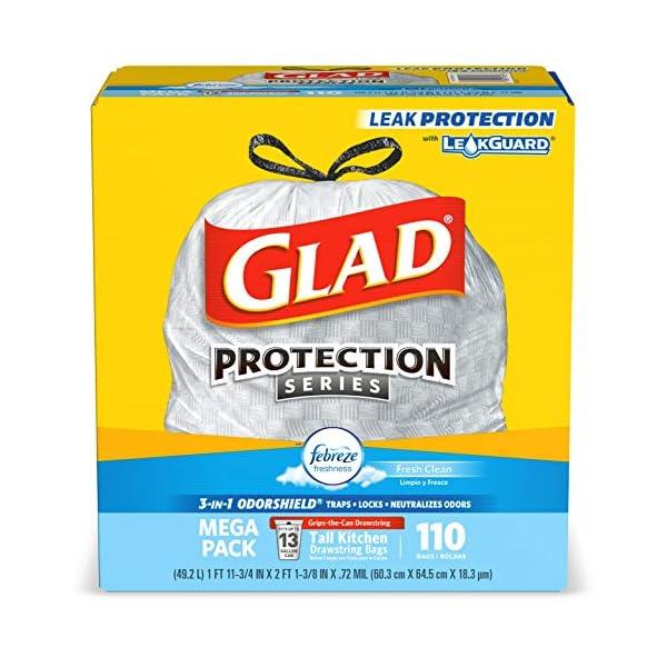 Glad Tall Kitchen Drawstring Trash Bags – OdorShield 13 Gallon White Trash Bag, Febreze Fresh Clean