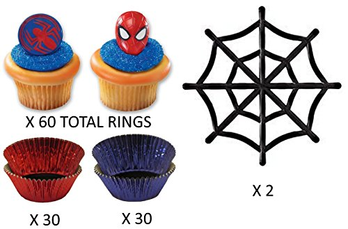 Spiderman Cupcake Set with Liners and Spiderman Toppers - Red and Blue - Enough for 60 Cupcakes (Toppers, Liners, 2 Large Webs) -