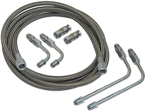 Stainless Braided Transmission Cooler Flex Hose Line Set Kit TH400 TH350 700R4 (K-3-1)