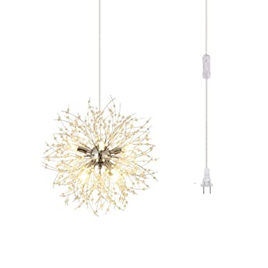 Dellemade DD00819 Plug in Sputnik Chandelier 8-Light Mid-Century Pendant Light,Silver