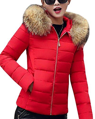Rote jacke mit fellkapuze damen