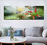 LB Chinese Style Painting Decor 3 Piece Canvas Print Wall Art Unframed,lotus and nine koi fishes swimming in pond Print Artwork for Living Room Bedroom Home Decoration