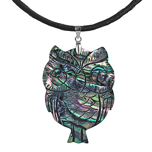 - AeraVida Spirit of Wisdom Owl Carved Abalone Shell .925 Sterling Silver Silk Pendant Necklace