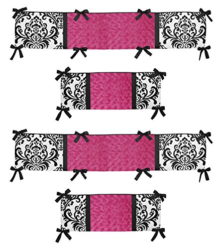Sweet Jojo Designs Hot Pink, Black and White Isabella Collection Crib Bumper (Collection Crib Isabella Bedding)