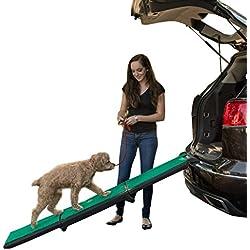 Pet Gear Travel Lite Tri-Fold Ramp with supertraX, Black/Green