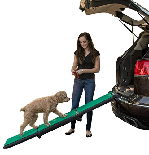 Pet Gear Travel Lite Tri-Fold Ramp with supertraX, Black/Green