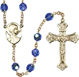 14k Yellow Gold Filled Rosary 8mm September Blue Capped Our Father Aurora Borealis Crucifix 1 7/8 x 1 1/8 Novena medal