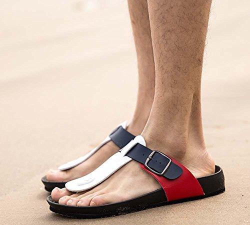 NobS Zapatillas de Hombre de Verano Color Mantching Zapatillas de Tanga Playa Zapatillas de Hombre Casual al aire libre Flip Flops black and white