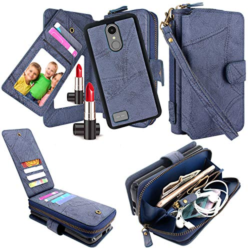 for LG Aristo 3 / Phoenix 3 / Aristo 2 Plus/Tribute Dynasty/Phoenix 4 / K8 2018 / Fortune 2 / Rebel 4 LTE/Risio 3, Harryshell Detachable Magnetic Zipper Wallet Case Clutch Purse (Blue)