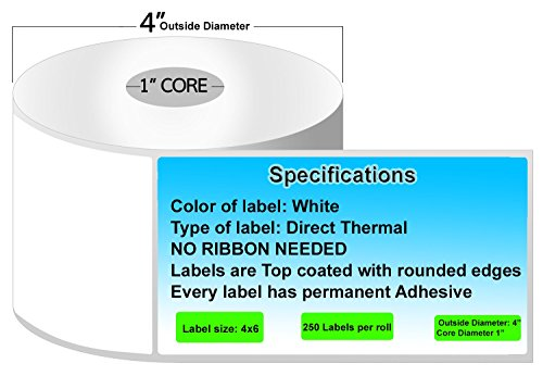 Zebra lp2844 labels - Made in the USA - Direct thermal labels zebra labels 4x6 Works with all Zebra Desktop Printers. (8 Rolls (2000 Labels)) by Thermal Printer Outlet (Image #1)