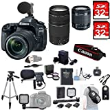 Canon EOS 80D Digital SLR Camera + 18-55mm STM + Canon 75-300mm III Lens + Microphone + Video Kit+ 64GB SDXC+Remote+Complete Cleaning Kit+Accessory Bundle+3pc Filter Kit+Sling Backpack +MORE!