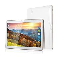 BATAI 10 inch Android Tablet Sim Card Slots 4GB RAM 64GB ROM Octa Core 3G Unlocked GSM Phone Tablet PC WiFi Bluetooth GPS (White)