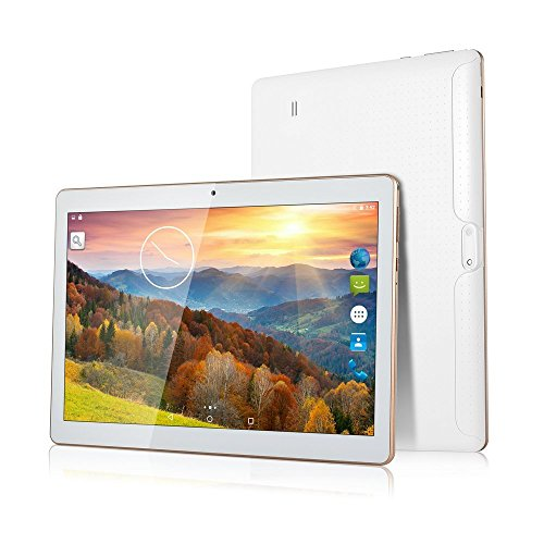 BATAI 10 inch Android Tablet Sim Card Slots 4GB RAM 64GB ROM Octa Core 3G Unlocked GSM Phone Tablet PC WiFi Bluetooth GPS (White)